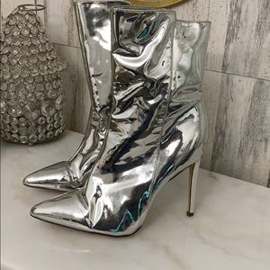 ASHLEY metallic silver women booties